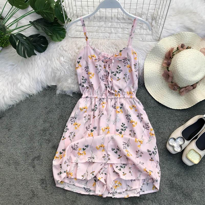 Nicemix Women 2019 Summer Spaghetti Strap Print Flower Backless Tunic Lace Up Sexy V Neck Beach Dresses Women Holiday Vestidos