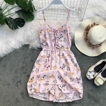 NiceMix Women 2019 Summer Spaghetti Strap Print Flower Backless Tunic  Lace Up Sexy V Neck Beach jumpsuit Holiday Vestidos