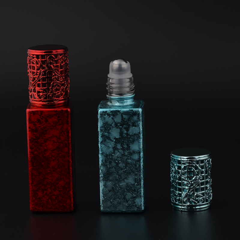 MUB - Portable 7ml Mini Glass Perfume Bottle High Quality Alloy Cap & Metal Roll On Parfum Bottles
