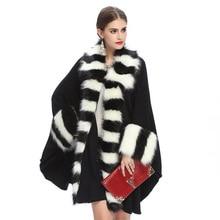 2016 autumn winter American high-end imitation fox fur hanging big fur collar bat sleeve lady knitting shawl cloak PC1039