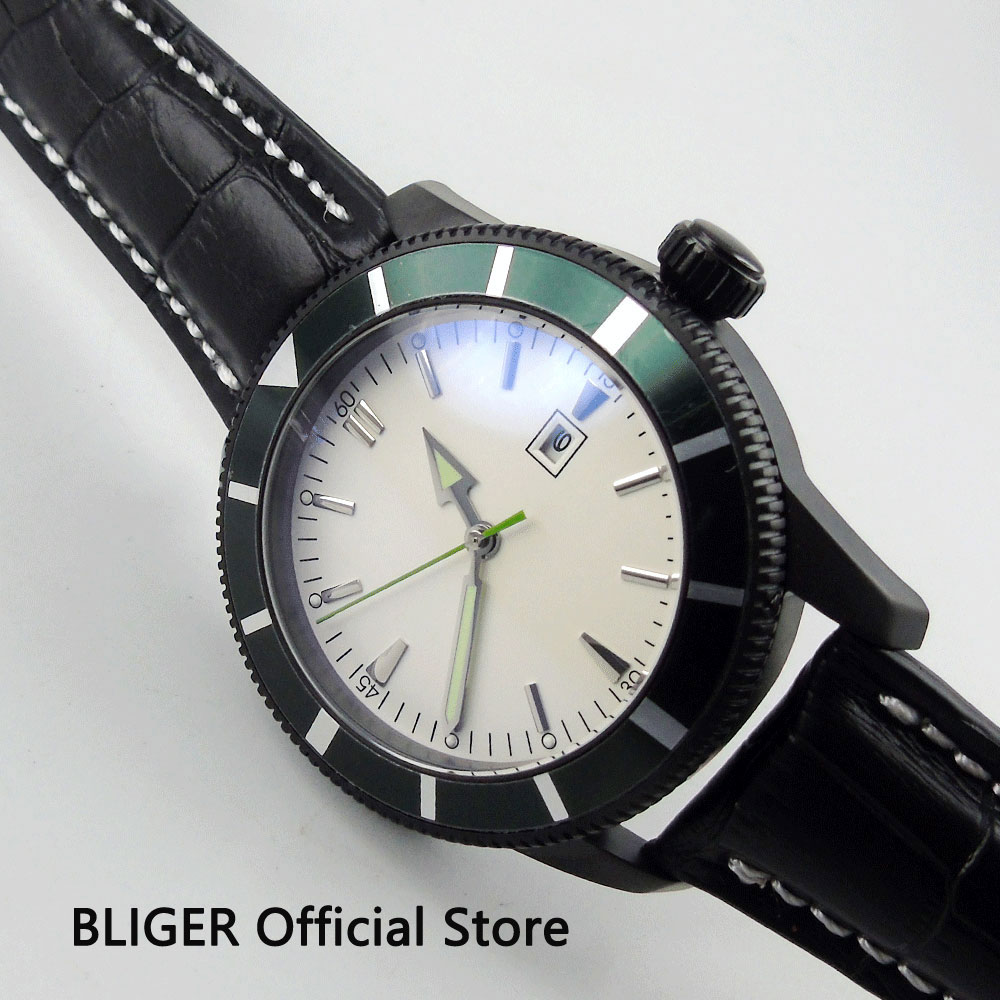 Classic BLIGER 46MM White Sterile Dial Black PVD Case Green Rotating Bezel Leather MIYOTA Automatic Movement Men's Watch BI20
