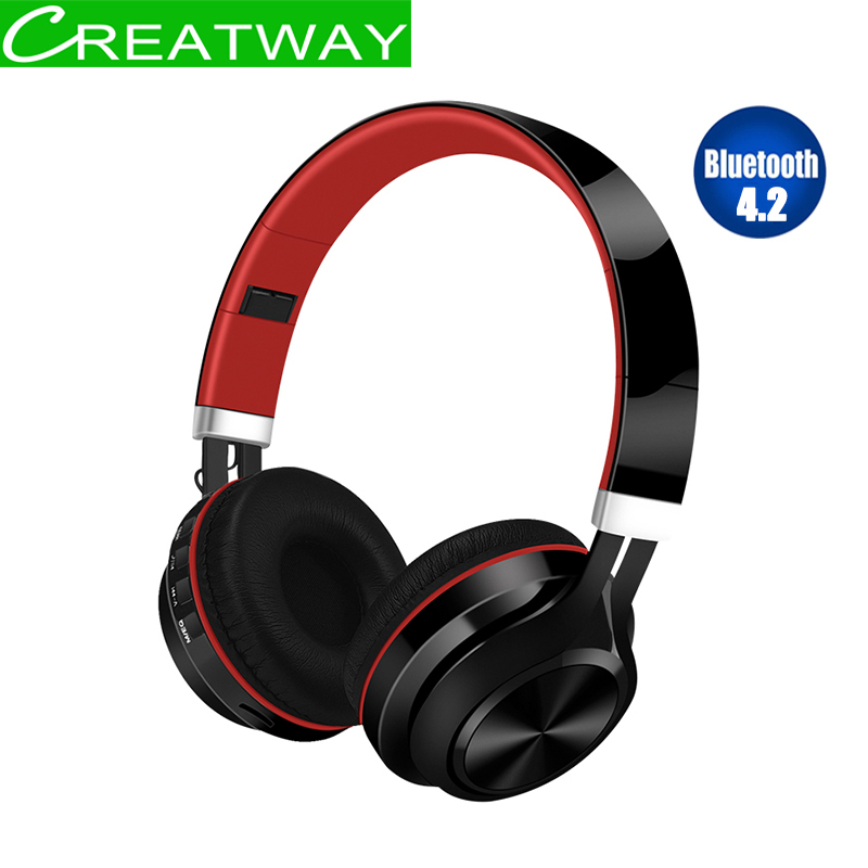 4.2 Bluetooth Earphone Wireless Bluetooth Headset TF card With Mic Wired Contronl Headphones Hifi Stereo wireless bluetooth headphones wireless headset bluetooth 4 1 hifi super bass stereo gaming headphone with mic