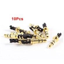 New 10 Pcs 3.5mm 3 Pole Male Soldering Repair Headphone Audio Jack Plug Gold Tone
