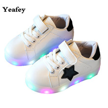 Yeafey Children Shoes With Light Chaussure Led Enfant Spring Autumn New Stars Led Girls Shoe Sports Breathable Boys Sneaker Shoe