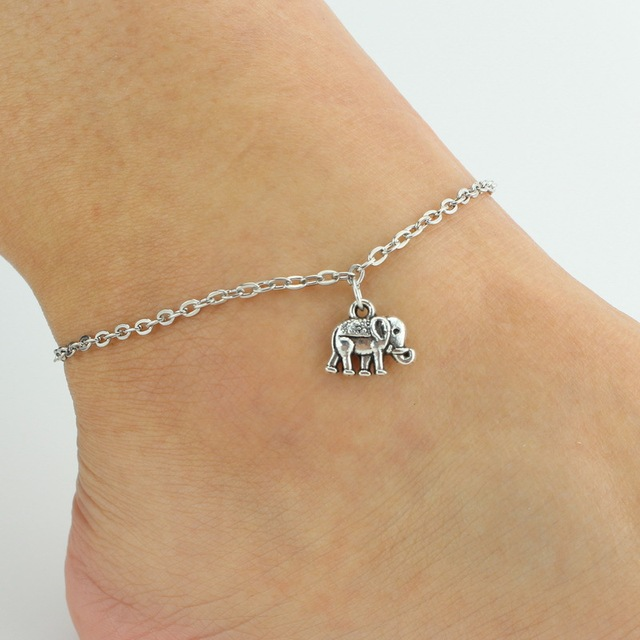 Silver Ankle Bracelet Charm Foot Jewelry Simple Metal Elephant Pendant Leg Chain Women S Anklet