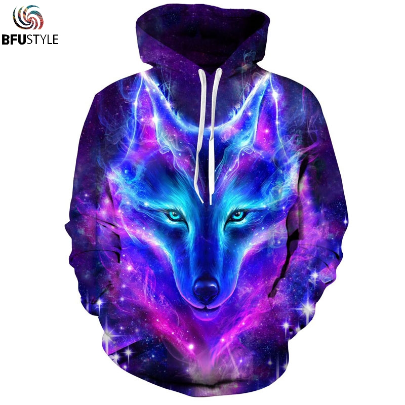 Eur Size Space Galaxy Wolf Hoodie Hoodies Men Women New Fashion Spring Autumn Pullover Sweatshirts Sweat Homme 3d Tracksuit