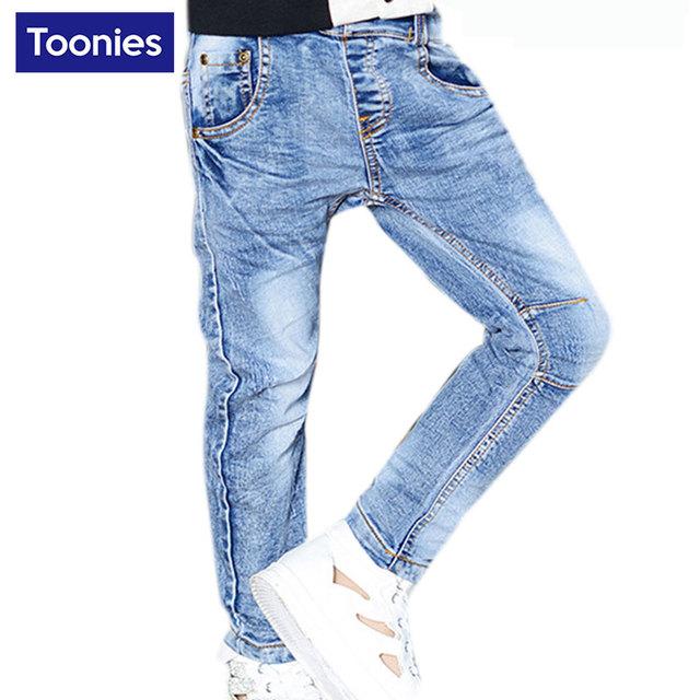 Venta caliente de Los Niños Ropa Niños Jeans de Moda 2017 Nuevos Niños Del Otoño Del Resorte Pantalones de Mezclilla Niños Niños Casual Jeans para 2-7Y