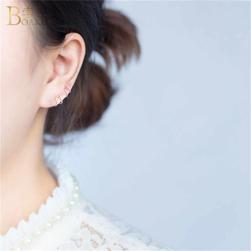 BOAKO 925 เงินสเตอร์ลิงต่างหูผู้หญิงรอบ Ear Bones Mini brincos หัวเข็มขัดเจาะขนาดเล็ก Hoop ต่างหู aros plata k3