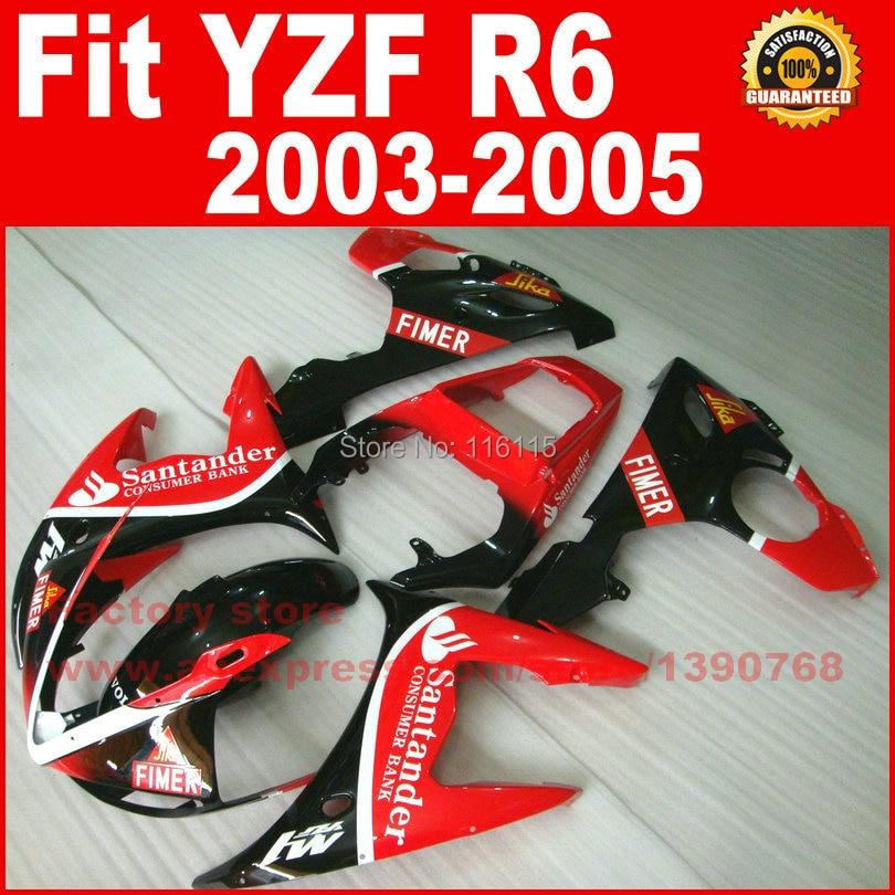 Motor parts for YAMAHA R6 fairing kits 2003 2004 2005 red Santander YZF R6 fairing 03 04 05 body kit V95 custom motorcycle body fairings kit for yamaha r6 2003 2004 2005 yzf r6 03 04 05 red flame fairing kits bodywork part