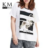 Kissmilk 2016 Women Plus Size Big Large Size 3XL 4XL 5XL 6XL Street Style White T