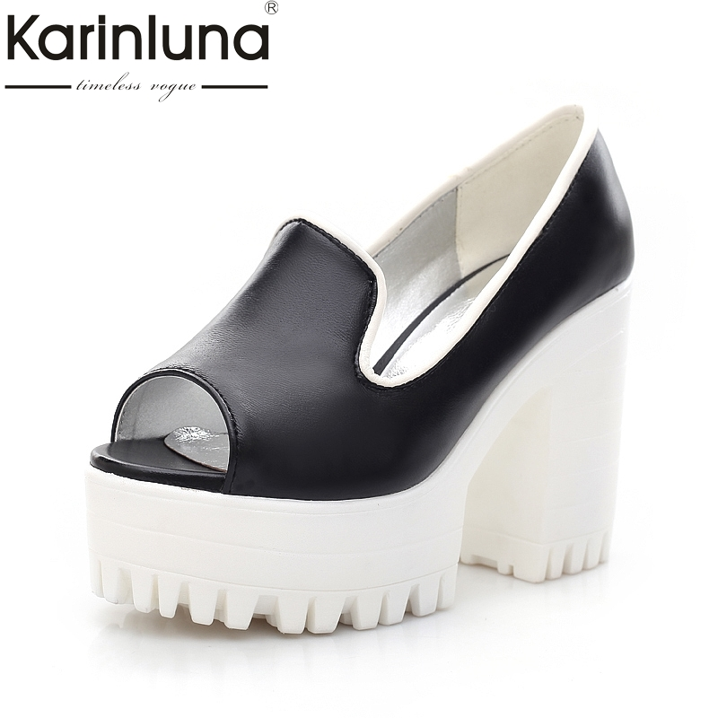 KarinLuna 2018 Black White Pink Slip On Peep Toe Woman Shoes Pumps Summer Square High Heels Platform Casual Shoes Women nayiduyun women casual shoes low top platform wedge high heels boots round toe slip on pumps punk chic shoes black white sneaker