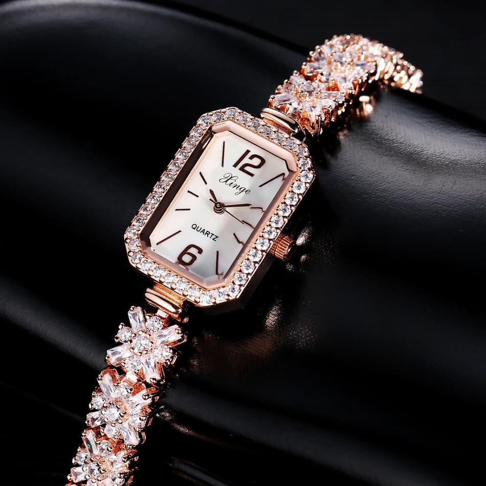 ФОТО Xinge Brand Bracelet Luxury Watches Women Fashion Gemstone Crystal Women Dress Wristwatch Ladies Business Quartz Watch