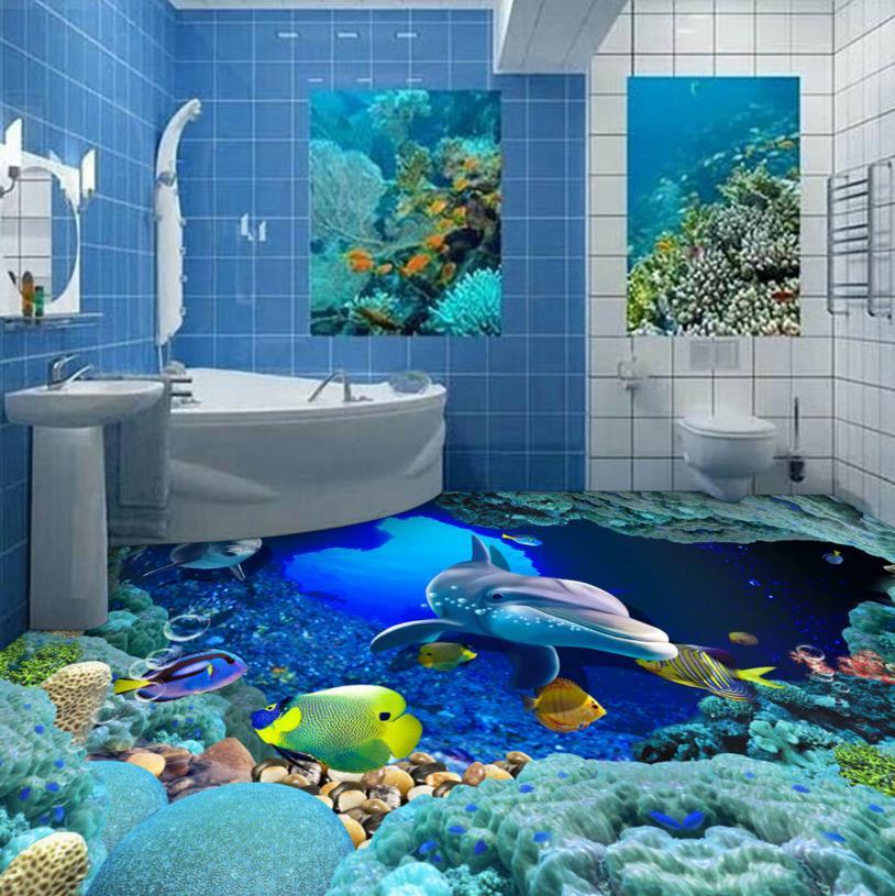 3D bathroom Floor Custom underwater world floor wallpaper 3d painting floor self-adhesive waterproof 3dWallpaper оцинкованный фартук на парапет