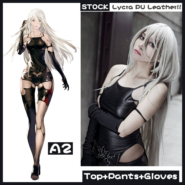 [Stock]PU Leather Game NieR : Automata A2 Sexy Tight Top+Legging+Gloves Cosplay costume New 2017 free shipping