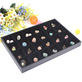 High-end Black 24 Grids Jewelry Tray Ring Earring Case Bracelet Holder Necklace Shelf Jewelry Storage Showcase Decoration Plate