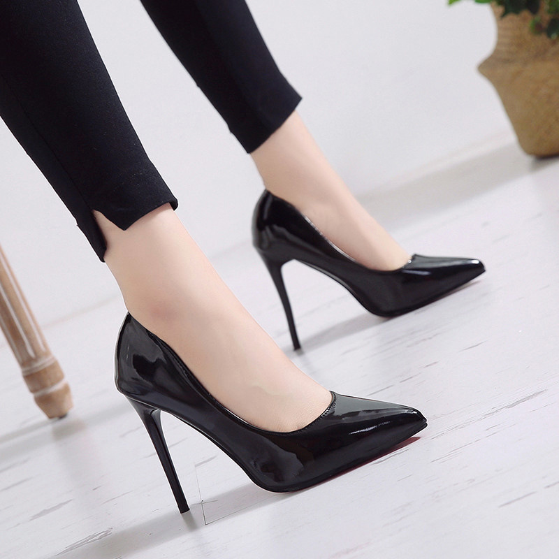 New Pointed Toe Leather Women Pumps Fashion Office Shoes Women Sexy High Heels Shoes Thin Heel Women 's Wedding Shoes 7