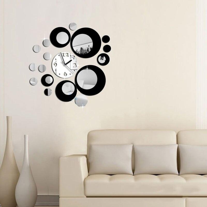 diseo especial d decoracin del hogar moderno cuadrados reloj de pared efecto espejo sticker