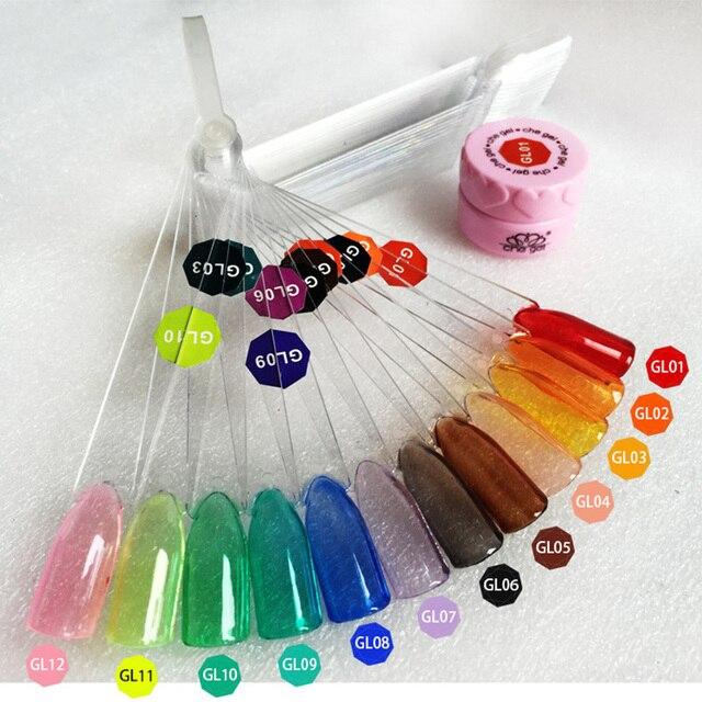 12 צבע ניאון צבע ג 'לי ציפורניים ריבות זכוכית סוכריות ציפורניים קיץ תכונה שקוף UV ציפורניים ג' ל פולני