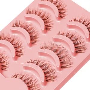 Image 2 - 5 Paar Natuurlijke Zachte Bruine Wimpers Make Handgemaakte Dikke Fake Valse Wimpers Uitbreiding Natural Look Clear Band