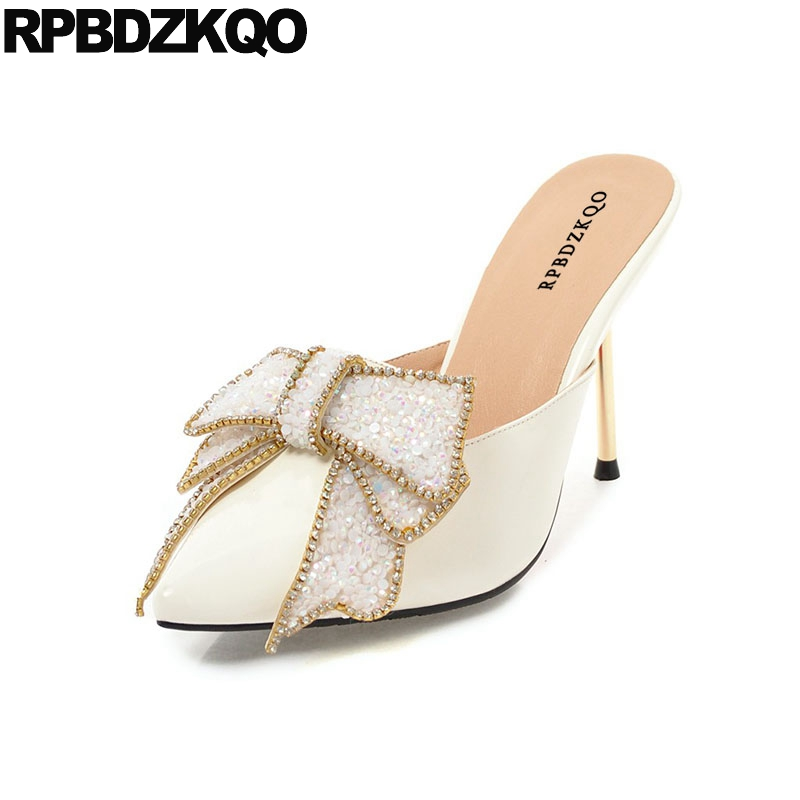 227e565de Crystal Peach 11 43 Shoes Big Size Bridal High Heels White Pointed Toe Pvc  Thin Women Mules Slipper Bow Silver Rhinestone Pumps