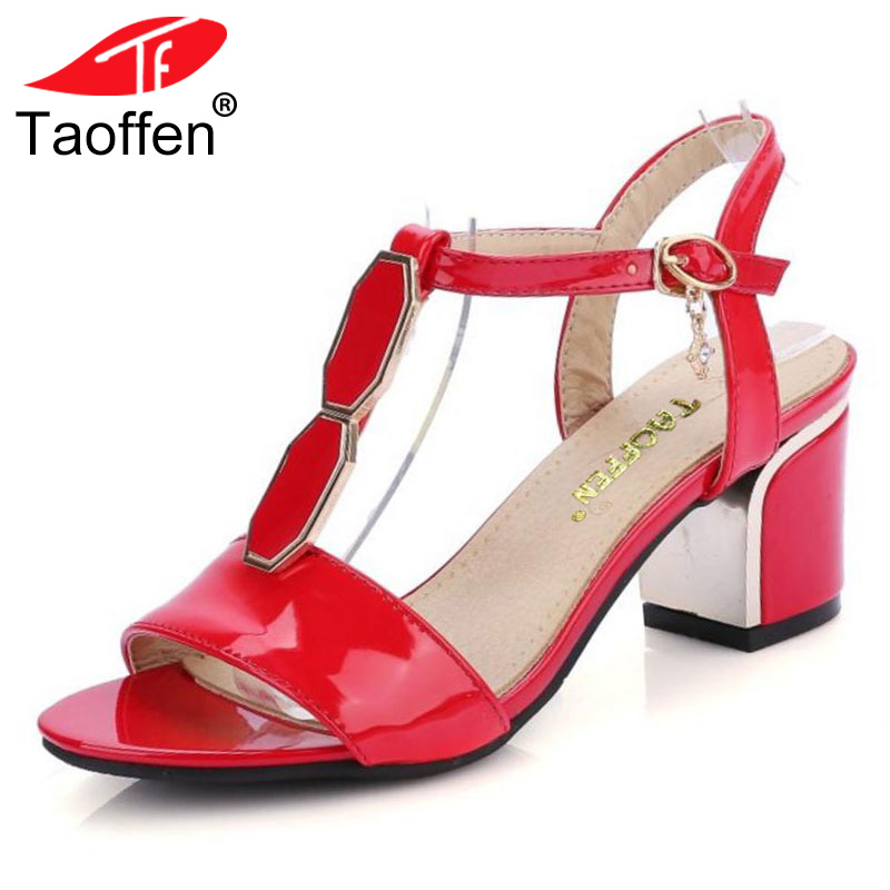 TAOFFEN Women Shoes Women Sandals Squared Heels Thin Belt Patent Leather Summer Shoes Fashion Sexy Party Footwear Size 33-43 taoffen women high platform shoes patent leather star lady casual fashion wedge footwear heels shoes size 33 48 p16184