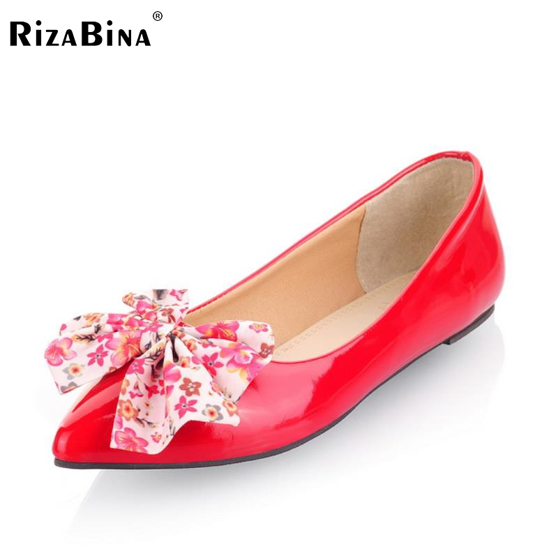 Size 30-49 Women's Flat Shoes Women Pointed Toe Sweet  Patent Leather Bowtie Flats Simple flats Comfort Slip-On Ladies Shoes spring summer women leather flat shoes 2017 sweet bowtie flats women shoes pointed toe slip on ladies shoes low heel shoes pink