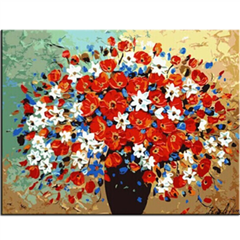WONZOM Red Flowers DIY Painting By Numbers Canvas Painitng Home Wall Art Picture Coloring By Numbers For Home Decor 40x50cm in Painting Calligraphy from Home Garden