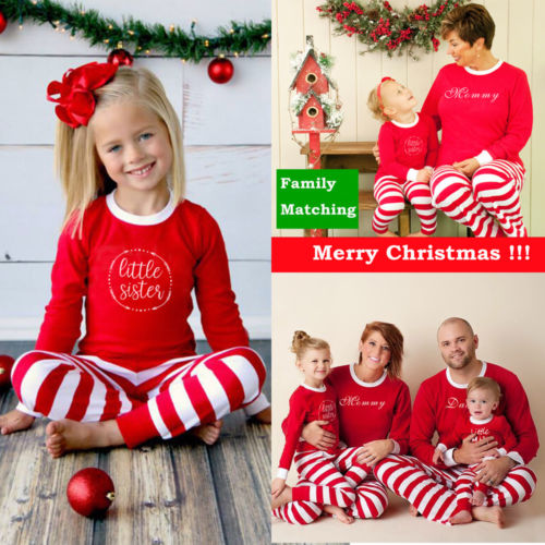 Emmababy Family Christmas Pajamas Set Family Matching Clothes Sleepwear Long Sleeve Tops+Long Striped Pants 2PCS Warm Set