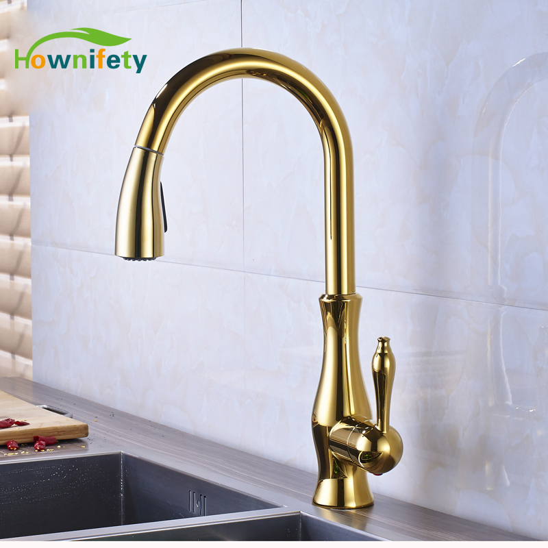 Solid Brass Kitchen Sink Faucet Swivel Spout Pull Down Mixer Tap Golden led spout swivel spout kitchen faucet vessel sink mixer tap chrome finish solid brass free shipping hot sale