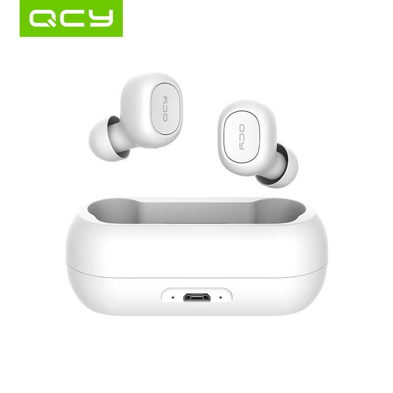 QCY QS1 5.0 TWS bluetooth ヘッドフォン T1C ミニステルス 3D ステレオワイヤレスヘッドセットと携帯充電収納ボックス