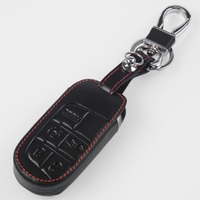 5 Buttons Leather Key Cover Key Chain For Jeep Renegade Hard Steel 2016 Smart Remote Protect
