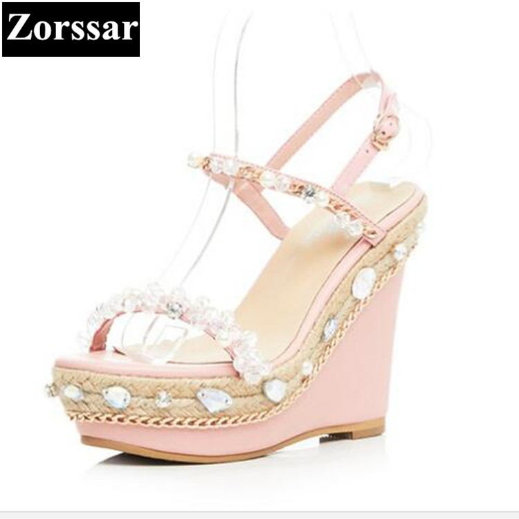 2017 NEW Woman Summer shoes Rhinestone Platform wedges sandals womens High heels pumps Fashion Casual women peep toe shoes lucyever women casual peep toe shoes thick platform creepers sandals woman fashion wedges high heels stars summer shoes