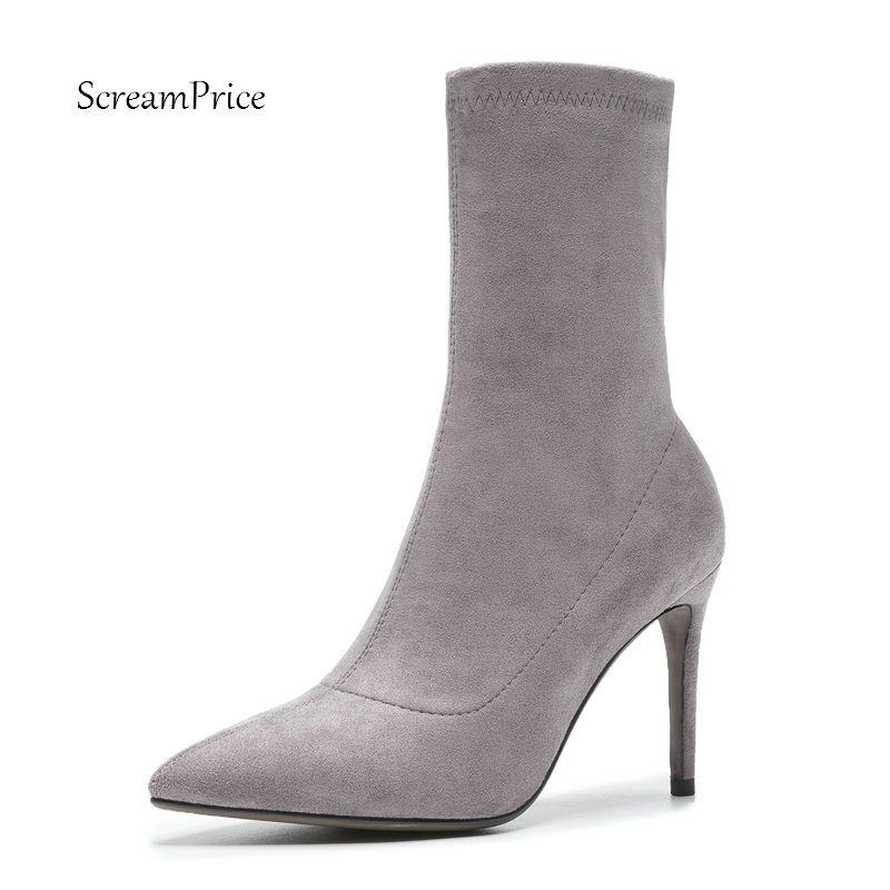 Ladies Sexy Thin High Heel Suede Ankle Boots Fashion Slip On Pointed Toe Women Fall Winter Bootie Black Wine red Gray lady suede thick high heel ankle boots fashion pointed toe slip on fall winter women bootie black wine red gray