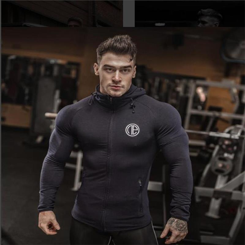 Fitness Men Bodybuilding Hoodies Gyms Brand font b Clothing b font Men Hoody Zipper Casual Sweatshirt