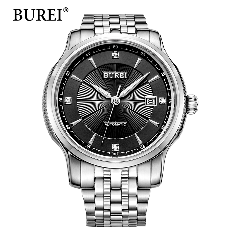 BUREI Mechanical Watch Men Top Brand Luxury Clock Stainless Steel Band Sapphire Automatic Man Waterproof Wristwatches Hot Sale burei men watch top brand luxury automatic male clock steel band day and date display white lens mechanical watches hot sale