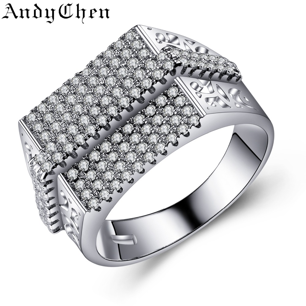 Andychen Sqaure Design Jewelry Silver Plated Engagement Fashion