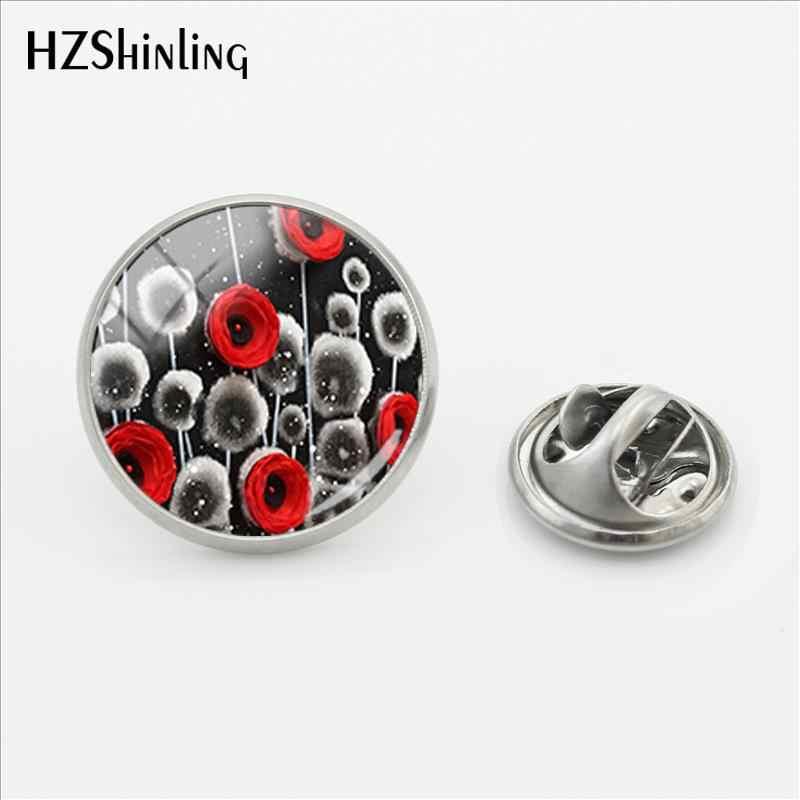 2018 New Merah Poppy Gesper Pin Bunga Stainless Steel Pin Poppies Lapel Pin Perak Kaca Cabochon Perhiasan