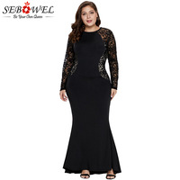 SEBOWEL Black/R Lace Floral Knitted Plus Size Maxi Gown Dress Woman Spring 2019 Long Sleeve Sheer Sequined Party Long Dresses