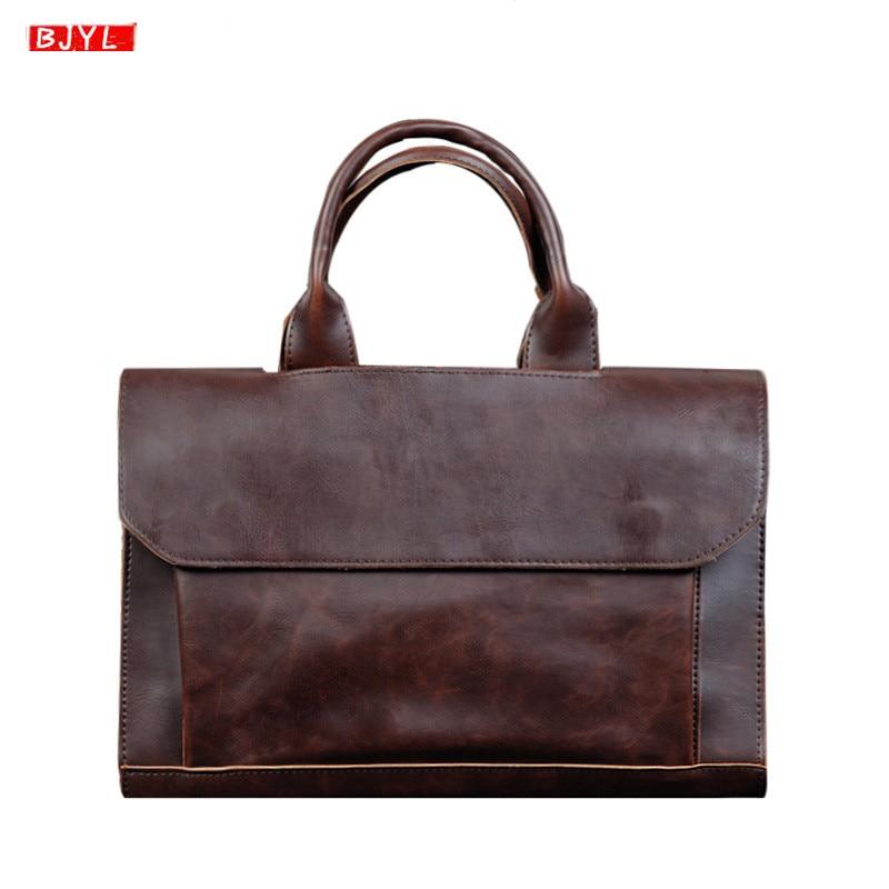 2019 New Men Briefcase Business Laptop Handbag Male Crazy Horse Leather Shoulder Slung Bag Computer Briefcase Messenger Bags