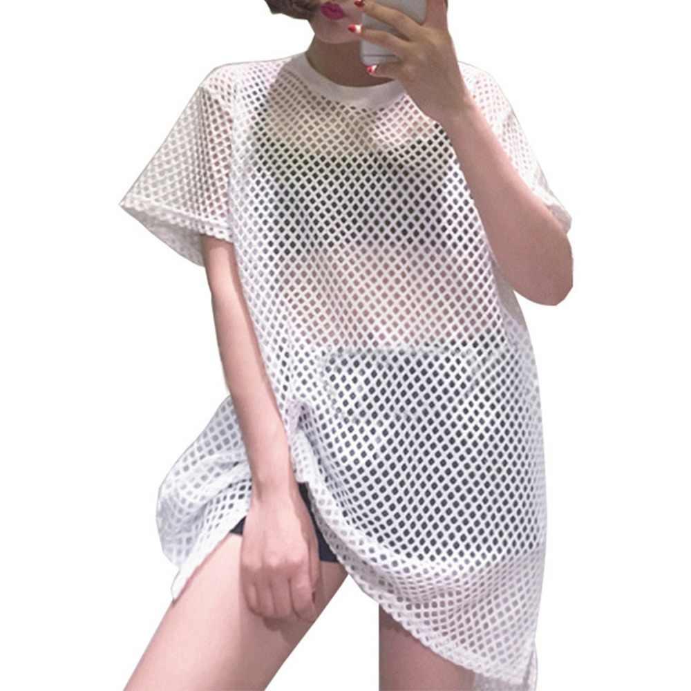 Wanita Seksi Melihat Melalui Mesh Gaun T-shirt Lengan Pendek Crochet Hollow Keluar Stoking Jala Pakaian Renang Menutupi Sisi Split Besar