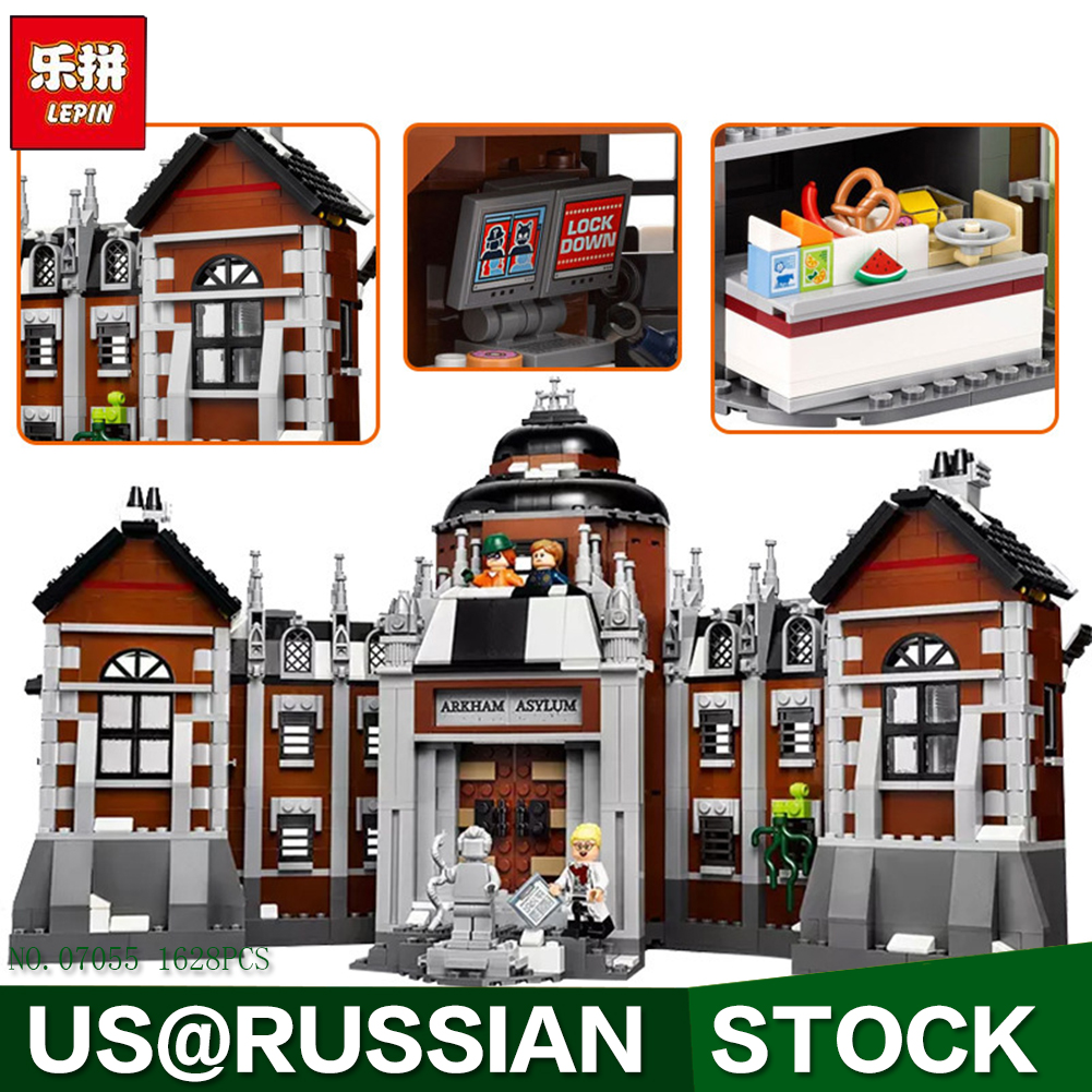 Lepin 07055 Compatible Legoe Batman 70912 1628pcs Super Heroes Movie Blocks Arkham Asylum Toys for Children Building Blocks lepin 07055 batman series arkham asylum model building block compatible legoe 1628pcs toys for children