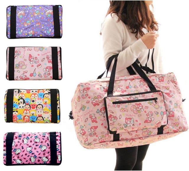 Kawaii Cute Cartoon Hello Kitty Cat My Melody Foldable Folding Trolley Travel  Bag Women Girls Tote f015d972b0fb0