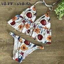 HAPPYSHARK Floral Ruffle Bikinis 2019 Women Stripe Lotus Edge Swimwear Sexy Micro Thong Bikini String Cut Out Beachwear Maillot