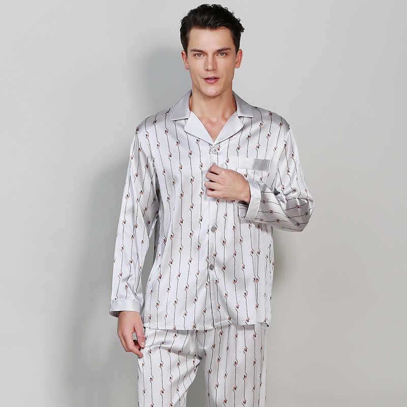 7c1f32aa7e2b5 Сексуальная стрейч атласа Мужской Шелковый пижамы наборы мужская с длинным  рукавом Весна Повседневная Домашняя одежда Благородный