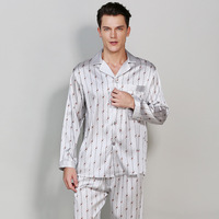 Sexy Stretch satin male silk pajamas sets mens Long sleeve spring casual homewear noble simple pijamas silk sleepwear