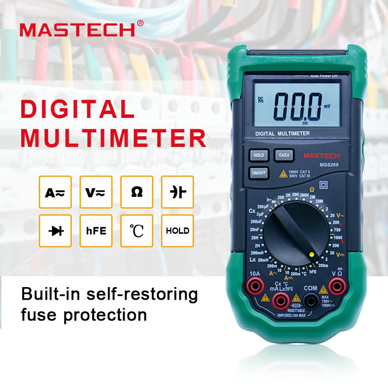 Digital Multimeter 3 1/2 LCR Meter AC/DC Voltage Current Resistance Capacitance Temperature Inductance Tester Mastech MS8269 3 1 2 1999 count digital lc c l meter inductance capacitance tester mastech my6243