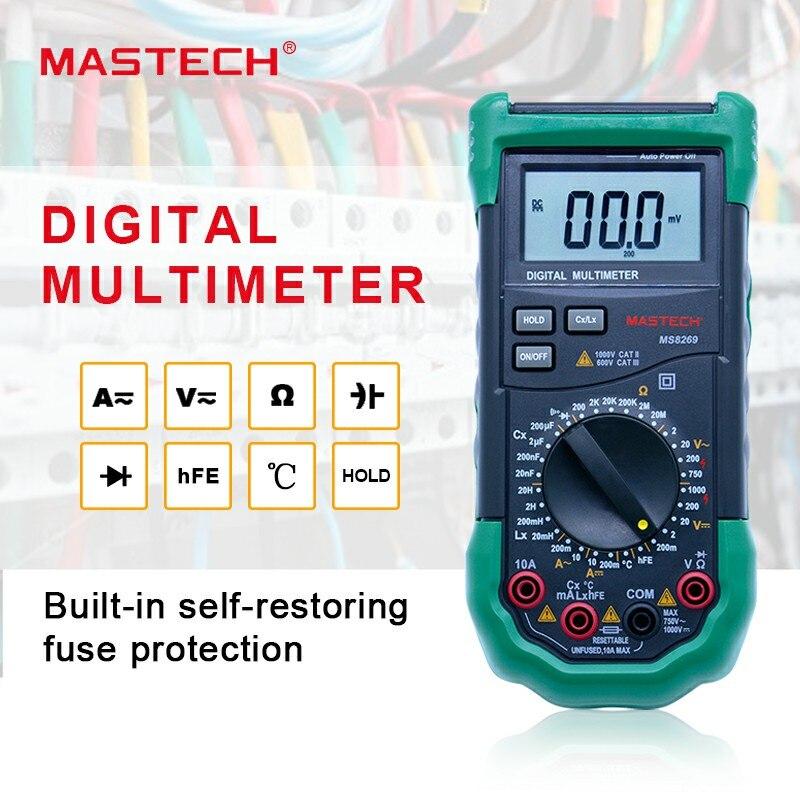 Multimètre numérique 3 1/2 LCR mètre AC/DC tension résistance de courant capacité température Inductance testeur Mastech MS8269