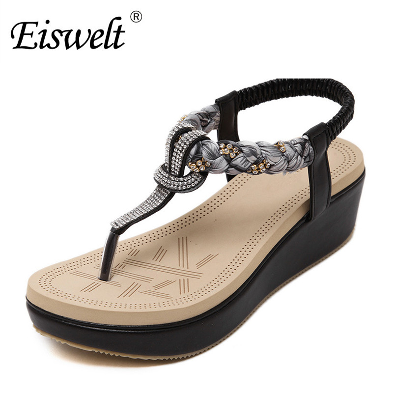 Eiswelt 2017 Shoes Woman Summer Platform Wedges Heels Sandals Ladies Flip Flops Studded Bohemia Beach Women Sandals Shoes#DZW62 phyanic 2017 gladiator sandals gold silver shoes woman summer platform wedges glitters creepers casual women shoes phy3323