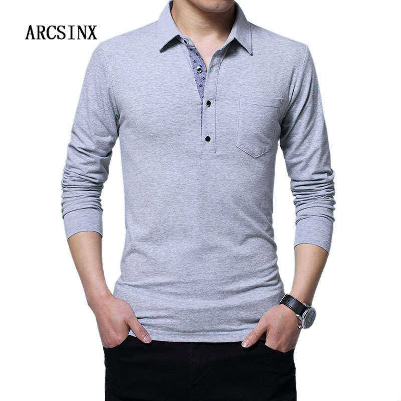 ARCSINX Slim Fit   Polo   Shirt Men Plus Size 5XL 4XL 3XL Long Sleeve Male   Polo   Shirt Casual Cotton Brand Big Size Men   Polo   Shirt