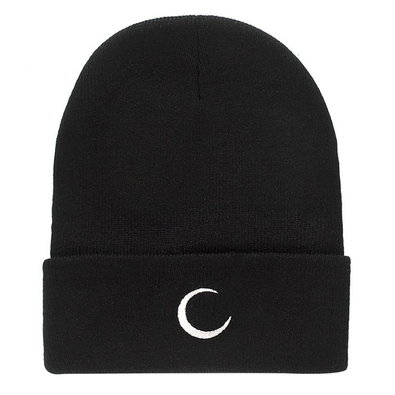 Moon Sun Snow Pattern Embroidery Hip Hop Hats Women Unisex Knitting   Skullies     Beanies   Autumn Winter Casual Warm Cap for Girls